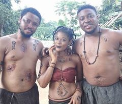 "#TBT CAMER ACTRESS PHILLDELLA ON THE SET OF NOLLYWOOD FILM ""NGIGE"" WITH ZACK ORJI"